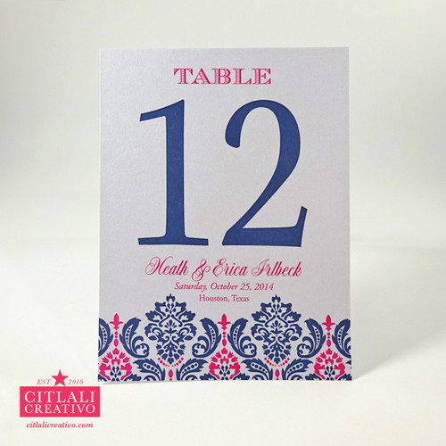 Damask Wedding Tent Table Numbers in Pink & Navy