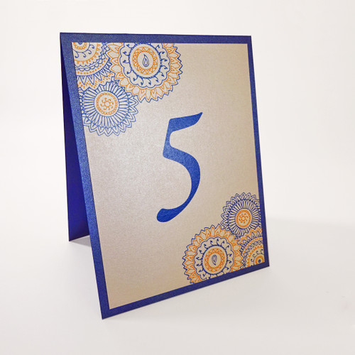 Mandala Henna Folded Table Numbers in your colors