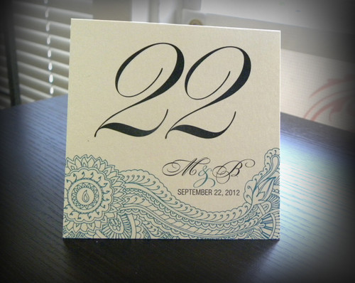Henna Mehndi Paisley Table Tent Numbers