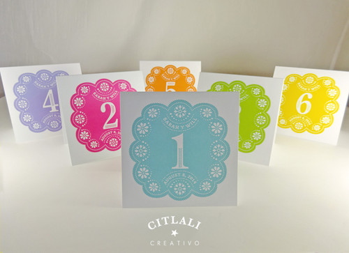 Square Colorful or Single Color Papel Picado Table Tent Numbers