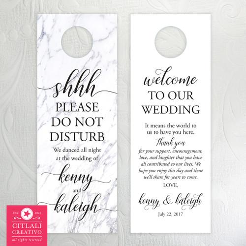 White Marble Shhh Do Not Disturb Wedding Door Hangers