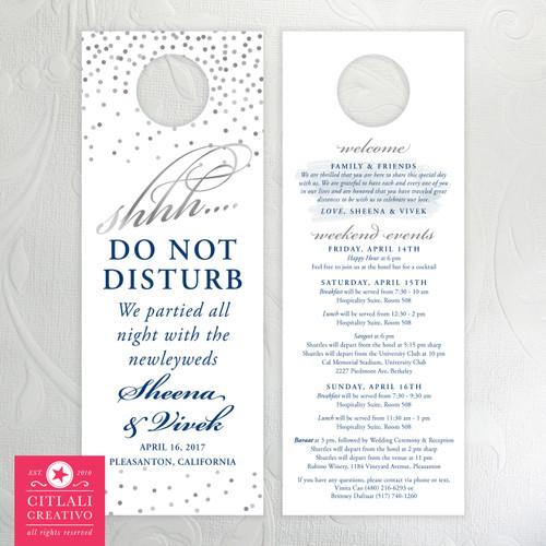 Confetti Dots Shhh Do Not Disturb Wedding Guest Door Hangers