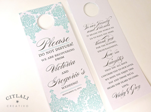 Please Do Not Disturb Damask Floral Hotel Guest Wedding Door Hangers