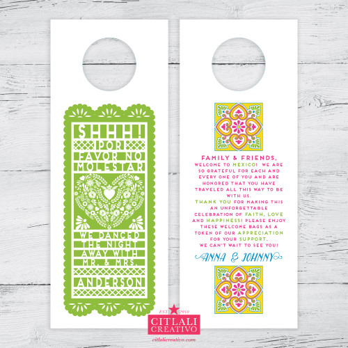 Papel Picado Do Not Disturb Wedding Door Hangers