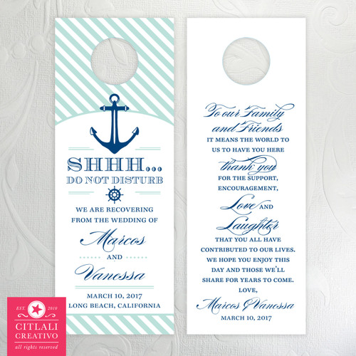 Nautical Anchor Striped Do Not Disturb Wedding Door Hangers