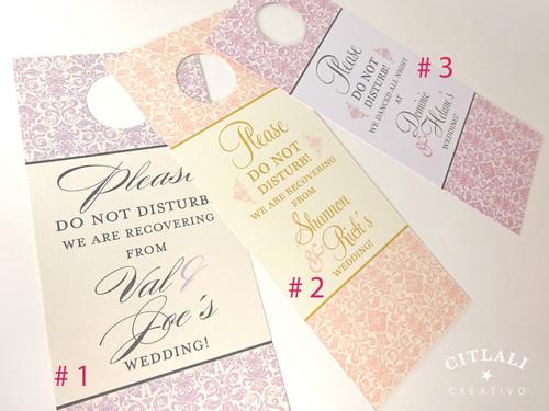 Please Do Not Disturb Fancy Damask Hotel Guest Wedding Door Hangers
