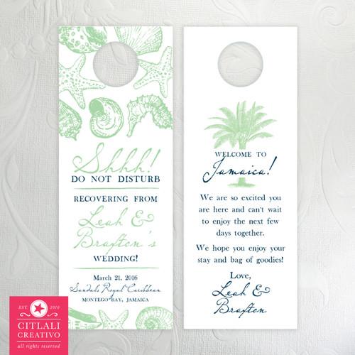 Minty Ocean Seashells Hotel Guest Destination Wedding Door Hangers