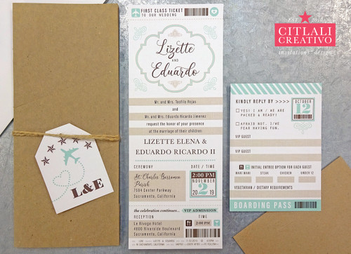 First-Class Boarding Pass Ticket Pocket Folder Wedding Invitations + Luggage tag
