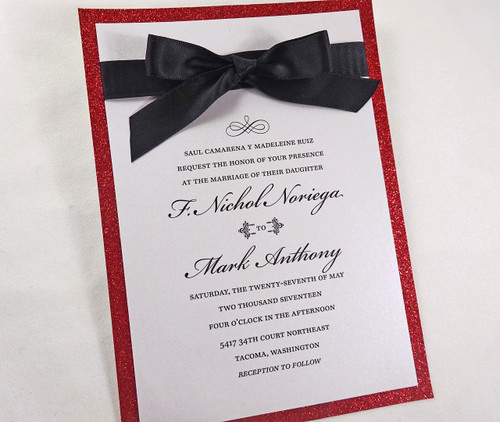Elegant Ribbon + Red Glitter Wedding Invitations