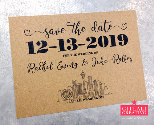 Seattle Skyline Script Save the Dates