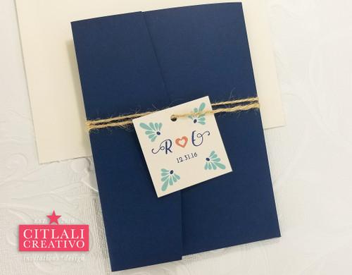 Talavera Spanish Tile Navy Pocket Folder Hacienda Wedding Invitations