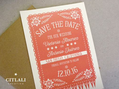 Mexican Papel Picado Fringe Banner Wedding Save the Date Announcement