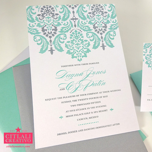 Elegant Damask Pattern Wedding Invitations