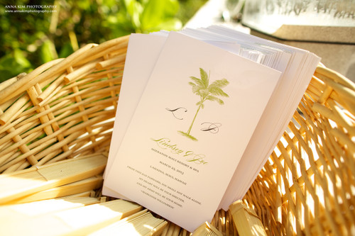 Palm Tree Beach Destination Folded Wedding Programs
