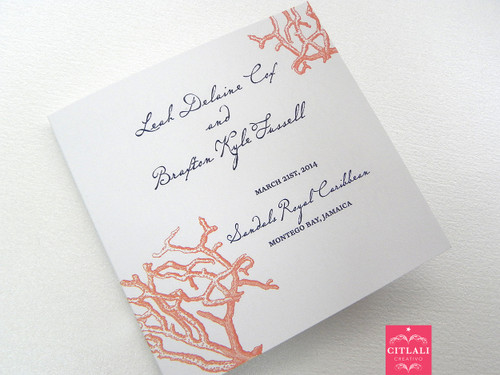 Coral Reef Beach Square Folded Wedding Programs