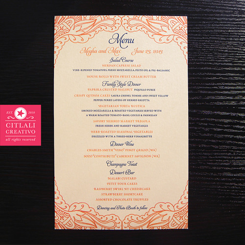 Henna Wedding Menu Cards in Two-tone Mendi Orange & Blue