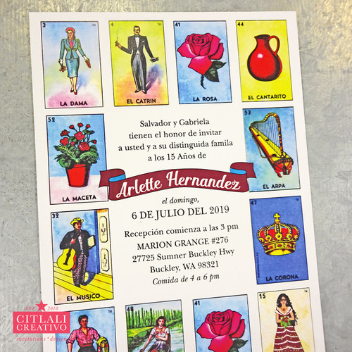 "Mexican Loteria Inspired ""La Quinceañera"" Invitations"