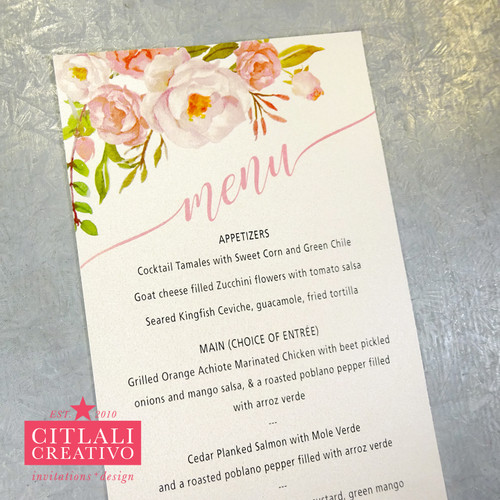 Floral Blush Pink Roses XV Menu Cards