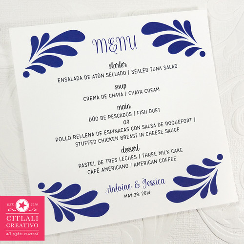 Talavera Spanish Tile Wedding Menu Cards