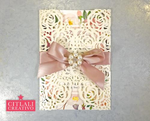 Floral Roses Rhinestone Sweet 16 / Quinceañera Laser cut Invitations