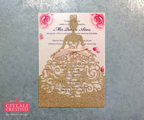 Rose Gold Glitter Quiceañera Laser Cut Dress Girl Invitations