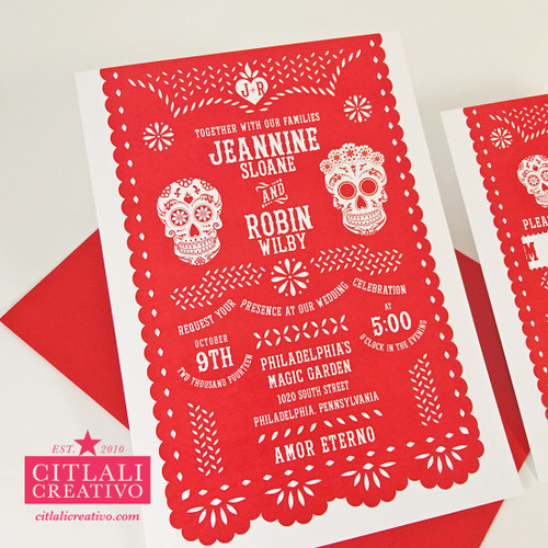 Festive Red Papel Picado & Sugar Skulls Wedding Invitations