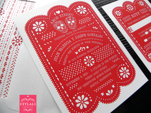 Amor Eterno Mexican Papel Picado & Sugar Skulls Wedding Invitations in Red