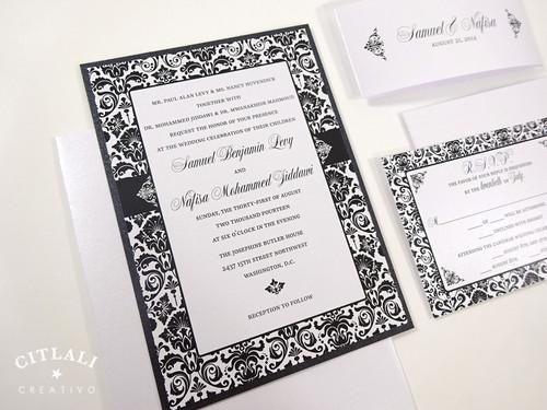 Classic Tuxedo Damask Wedding Invitations