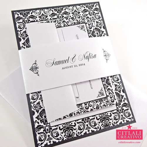 Classic Tuxedo Damask Wedding Invitations