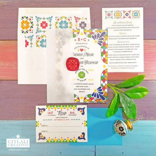 Spanish Tile Wax Seal Vellum Wrap Wedding Invitations