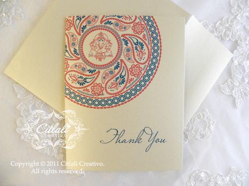 Ganesha Henna Menhdi Corner Paisley Medallion Thank You Folded Card