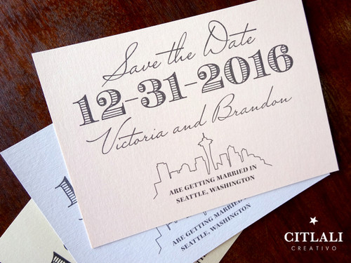 Modern Seattle Skyline Script Wedding Save the Date Announcement