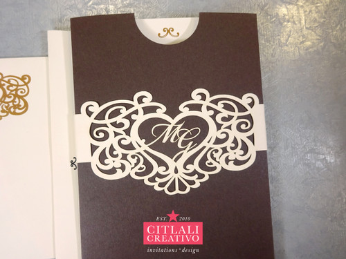 Laser Cut Heart Band + Pocket Wedding Invitations