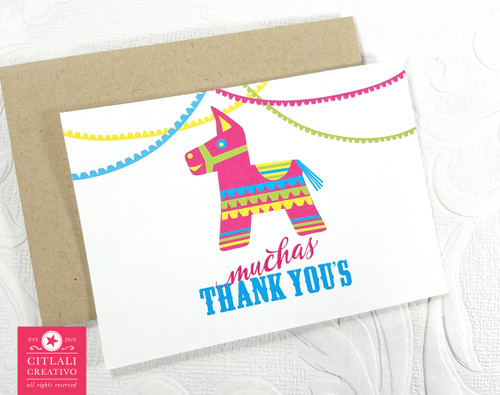 Muchas Thank You's Colorful Piñata Donkey Thank you cards