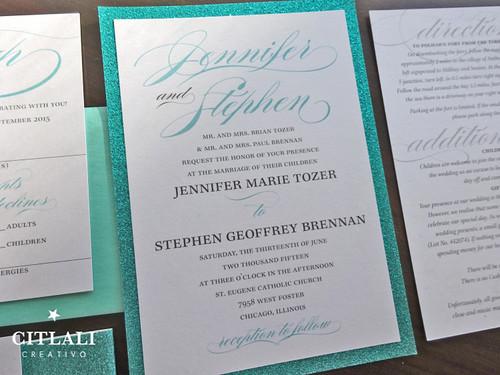 Elegant Script Glitter Wedding Invitations