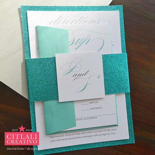 Elegant Script Glitter Wedding Invitations