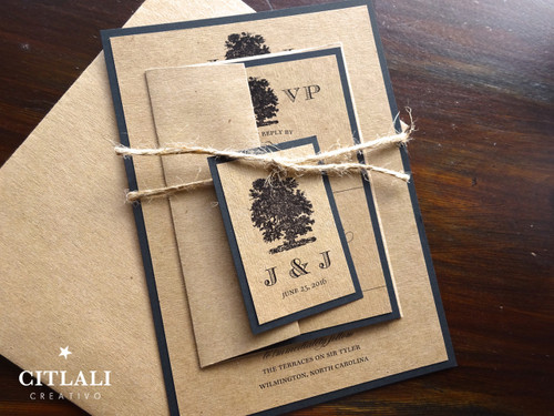 Rustic Kraft & Twine Tree Wedding Invitations