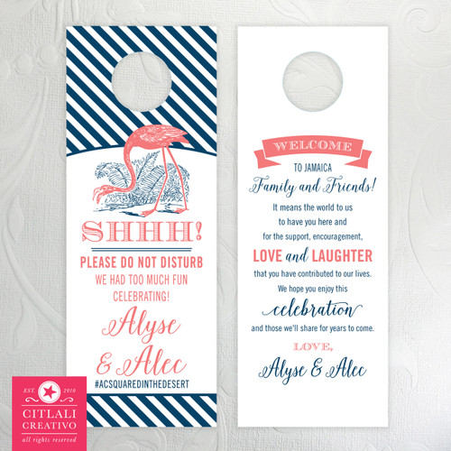 Flamingo Banner Do Not Disturb Striped Wedding Door Hangers