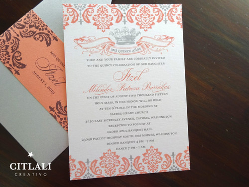 Vintage Crown Quinceañera Invitations – Pouch Style in Gray & Coral