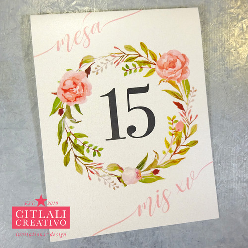 Floral Blush Pink Roses XV Table Numbers