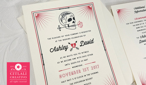 Heart Corner Burst Skull & Rose Wedding Invitations