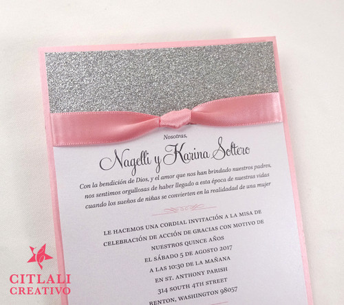 Elegant & Simple Glitter & Ribbon Quinceañera/Sweet 16 Invitations