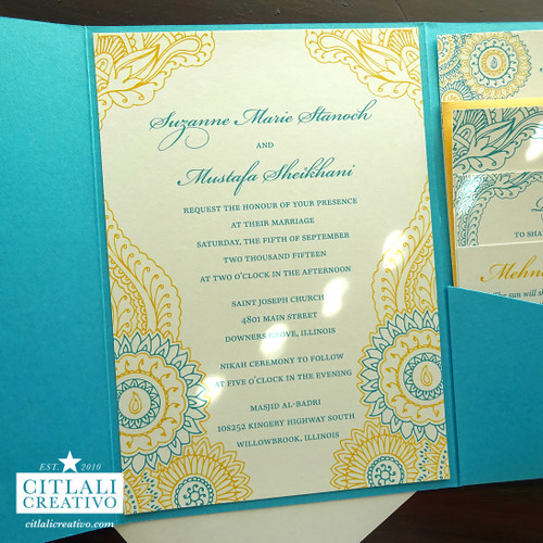 Henna Paisley Teal & Gold Pocket Folder Wedding Invitations