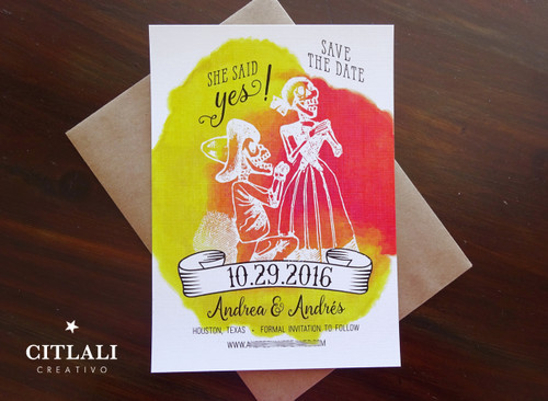 Posada Skeleton Couple Kneeling Watercolor Wedding Save the Dates