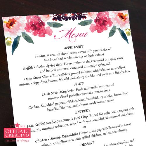 Watercolor Floral Wedding Menu Cards