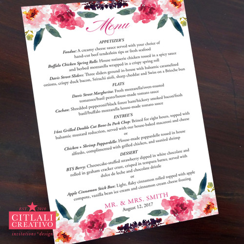 Watercolor Floral Wedding Menu Cards