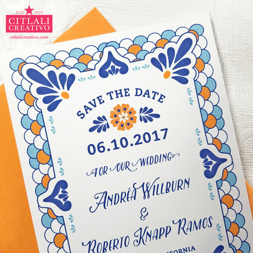Talavera Spanish Tile Wedding Save the Dates