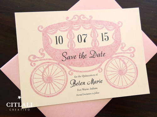 Fairytale Horse & Carriage Quinceañera / Sweet 16 Save the Dates
