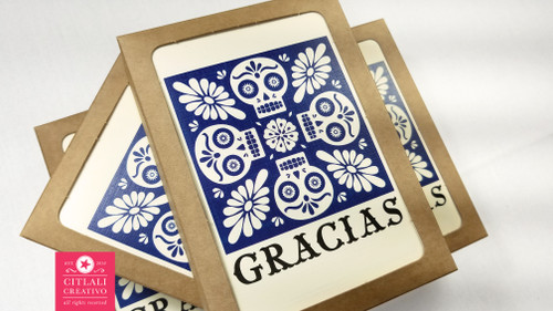 Talavera Spanish Tile Inspired Skulls Thank you cards