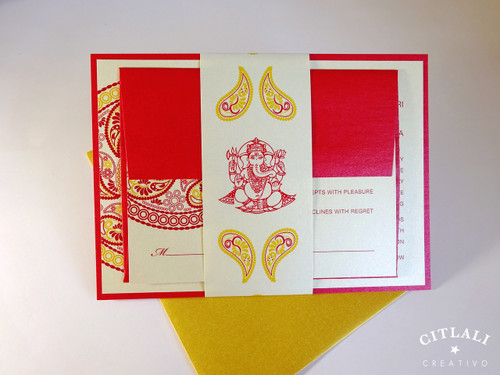 Ganesh Red & Gold Paisley Medallion Indian Wedding Invitations